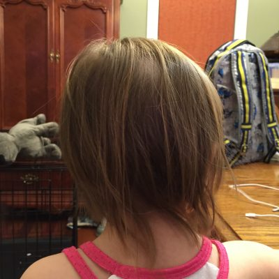 My little girl cuts her own hair! She is so independent that she has to everything her self. Lock the scissors up! http://haleysvintage.com #toddlers #hair #scissors