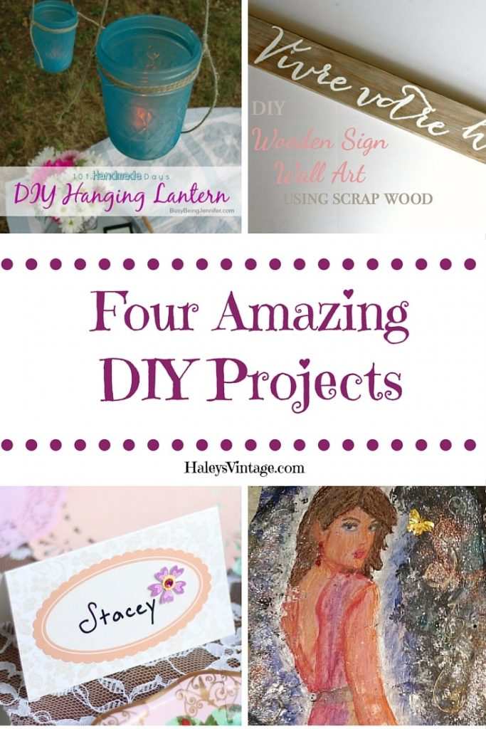 My Favorite DIY Projects: Lanterns, Coloring Pages, Distressed Wooden Sign, and Place Cards. #DIY #Crafts