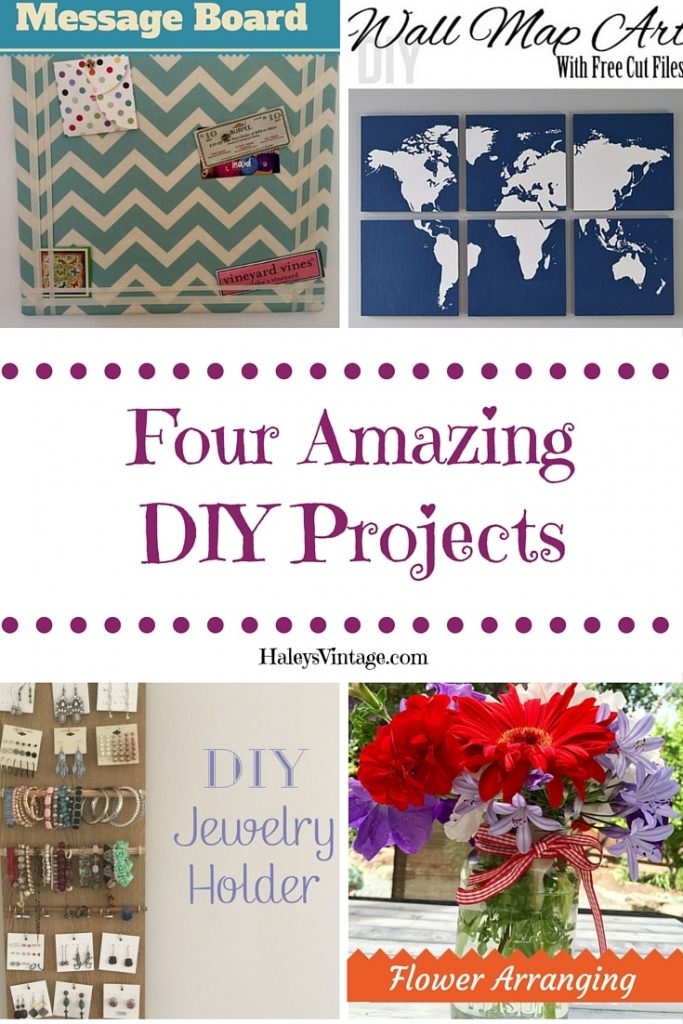 My favorite #DIY projects part 6! Jewelry Holders, Map Wall Art, Message Board, and Flower Arranging Tips.