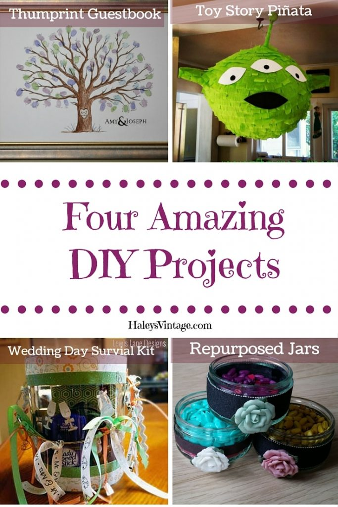 DIY Projects: Thumbprint Guestbook, Toy Story Piñata, Wedding Day Survival Kit, & Repurposed Jars