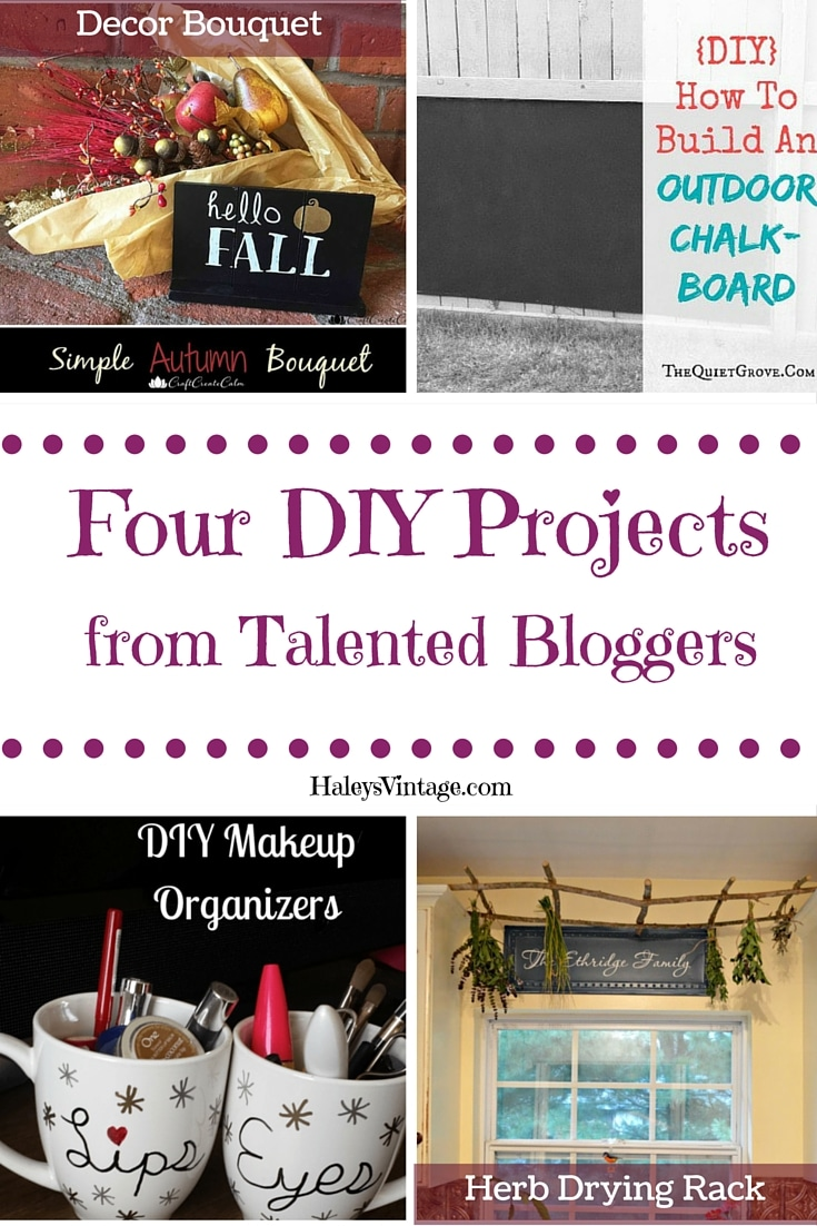 My Favorite DIY Projects ~ Part 14! Outdoor Chalkboard, Decor Bouquet, Herb Drying Rack, and Makeup Organizer! #DIY