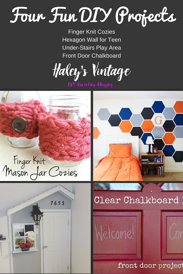 My Favorite DIY Projects ~ Part 20! Hand Knitted Cozies, Chalkboard Front Door, Hexagon Wall, and Under-Stairs Playhouse