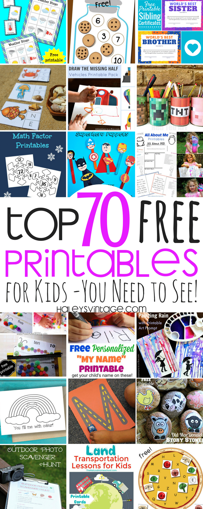 Who doesn't love free printables? Some are educational, and others are just for fun, and today I am sharing My Top 70 Free Printables for Kids!