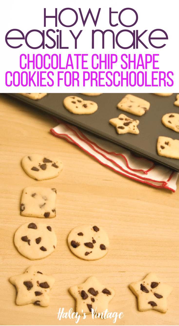 Teaching preschoolers' geometry can be fun and delicious! Learn how to Make Chocolate Chip Shape Cookies that your kids will have fun learning with.