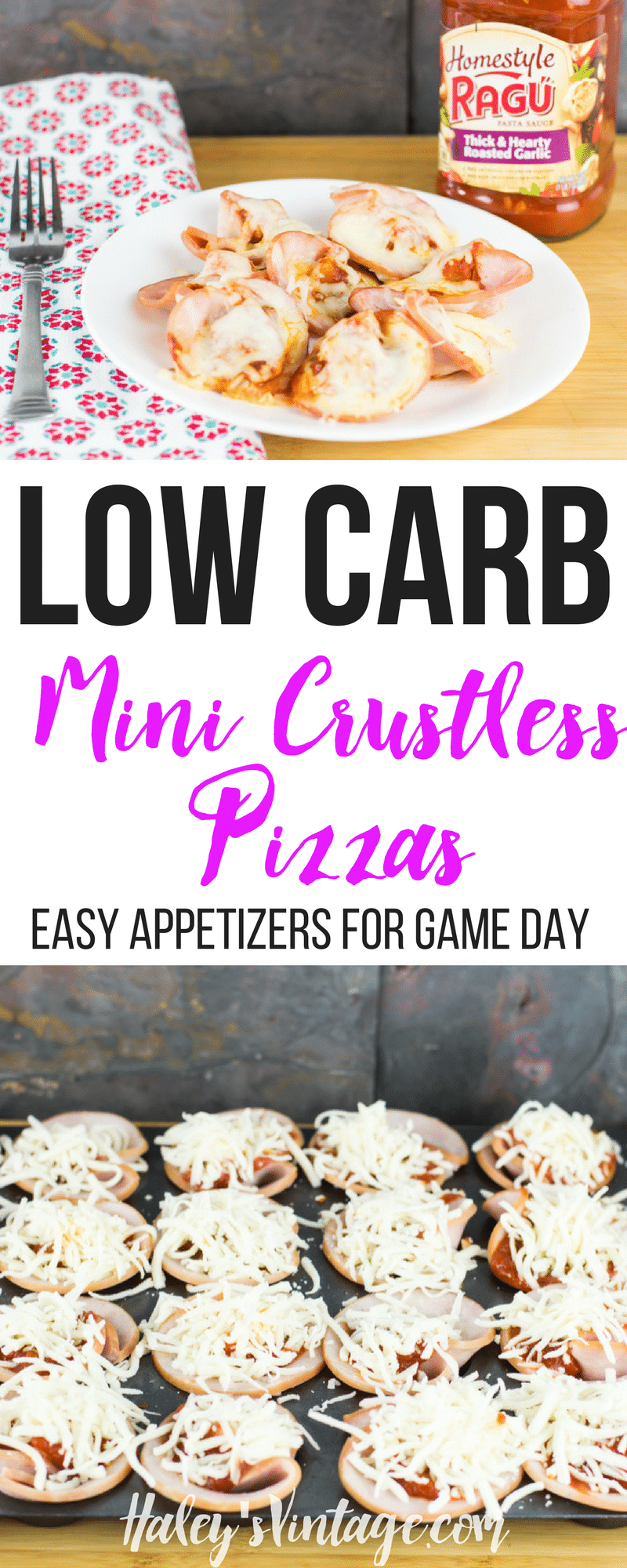 Who doesn't love a quick appetizer for Game Day? If you are looking to eat a little healthier this year, you will love my Low Carb Mini Crustless Pizzas!