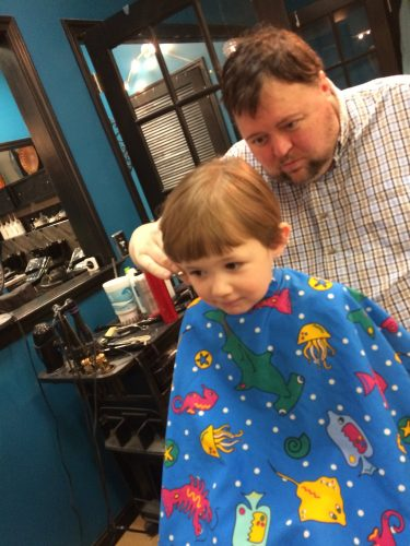 Fixing my little girl's hair. She enjoyed her first trip to the salon. https://haleysvintage.com #toddlers #hair #salon