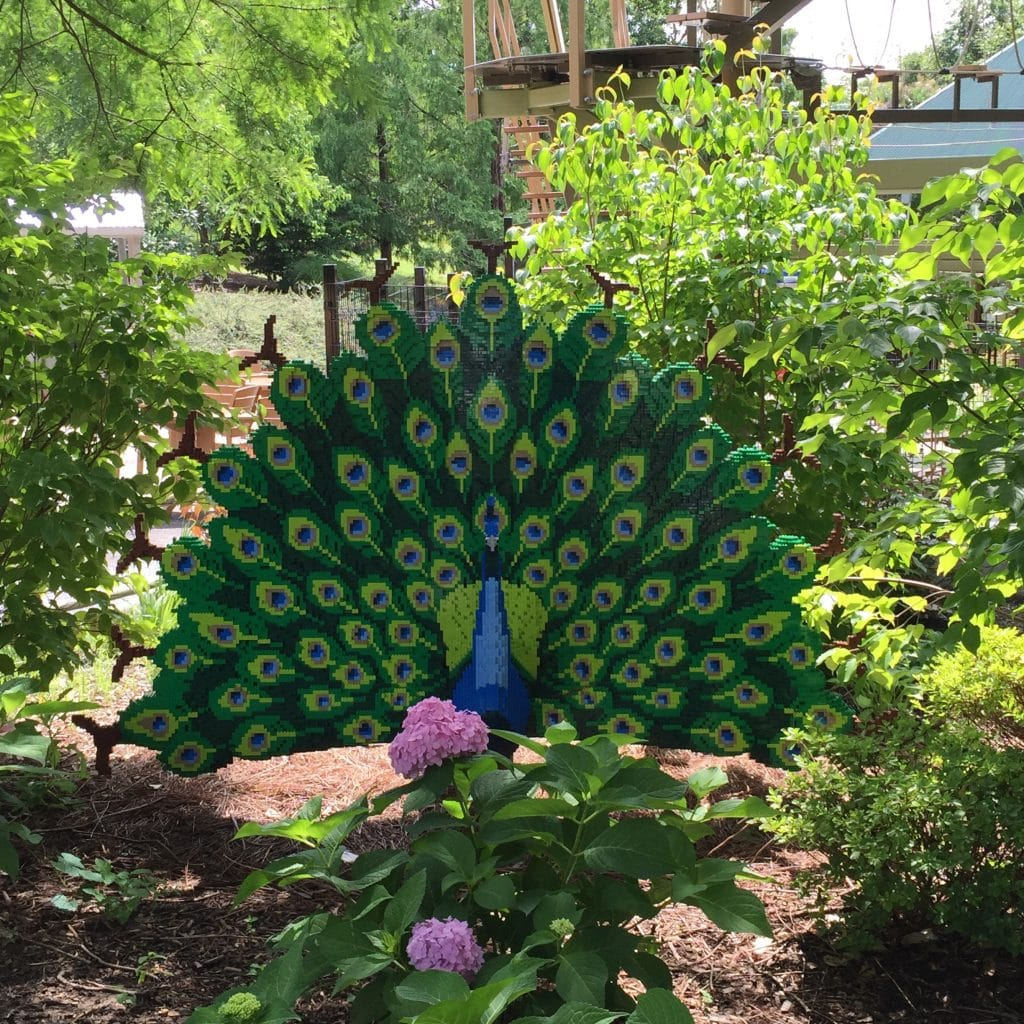 Peacock Lego Sculpture by Sean Kenny at Louisville Zoo