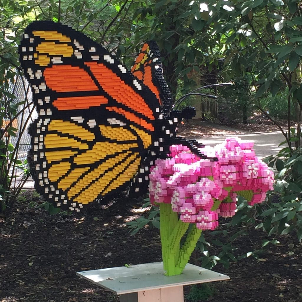 Monarch Butterfly on Milkweed Sculpture by Sean Kenny at Louisville Zoo