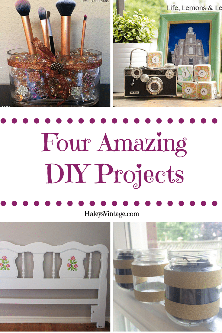 Check out these four amazing DIY projects from some talented bloggers. Learn how to make a makeup brush holder, chatter blocks, refinish a headboard, or repurpose baby jars in to herb planters. #DIY