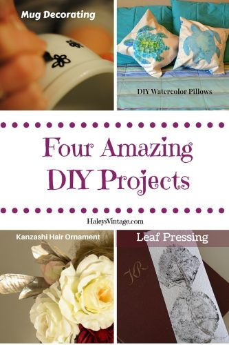 DIY Projects ~ Part 7! Watercolor Pillows, Kanzashi Hair Ornaments, Leaf Pressing, & Mug Decorating