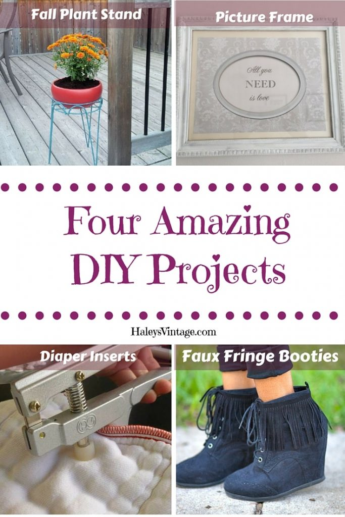My Favorite DIY Projects ~ Part 8! Plant Stand, Faux Fringe Booties, Picture Frame, and Diaper Inserts