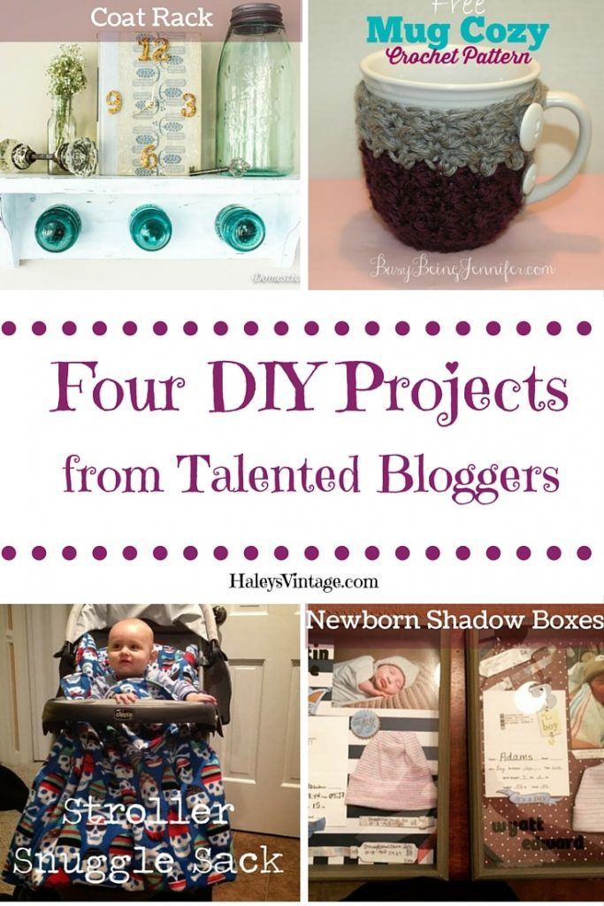 My Favorite DIY Projects ~ Part 11! Coat shelf, Crochet Mug Cozy, Newborn Shadow Boxes, & Stroller Snuggle Sack