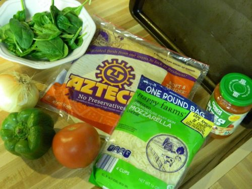 Pizza Ingredients for Veggie Tortilla Pizza