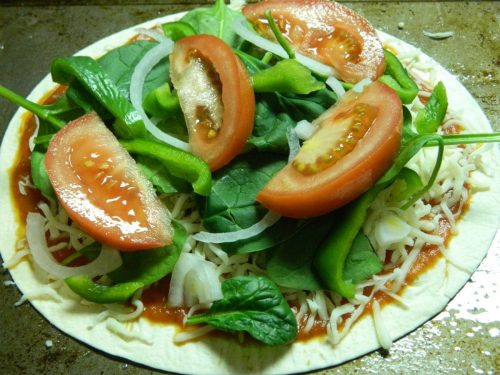 Veggie Tortilla Pizza - a quick easy meal to make!