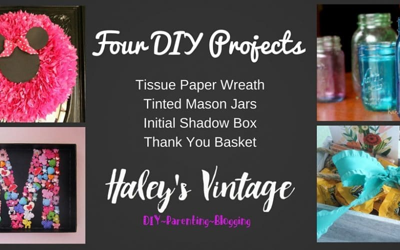 My Favorite DIY Projects ~ Part 22! Shadow Box, Tinted Mason Jar, Thank You Basket, & Wreath