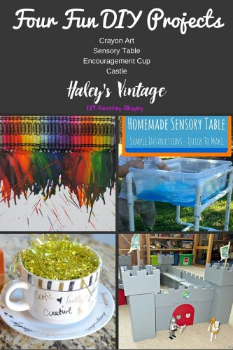 My Favorite DIY Projects ~ Part 21! Castle, Sensory Table, Encouragement Cup, & Crayon Art