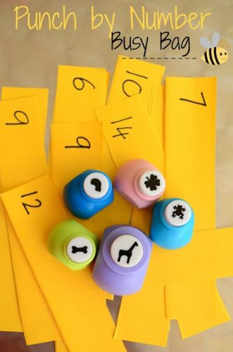 Punch by Number Busy Bag #LaughLearnLinkup