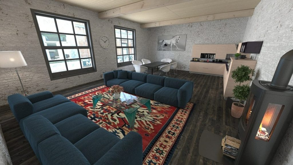 Living room, dining area, kitchen - open spaces in an apartment are easily repurposed rooms.