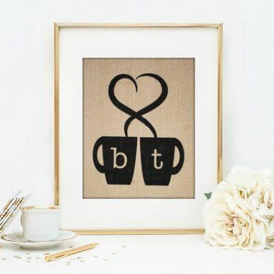 Coffee Lovers Burlap Print