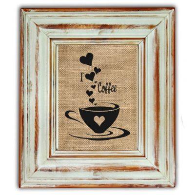 I Love Coffee Burlap Print