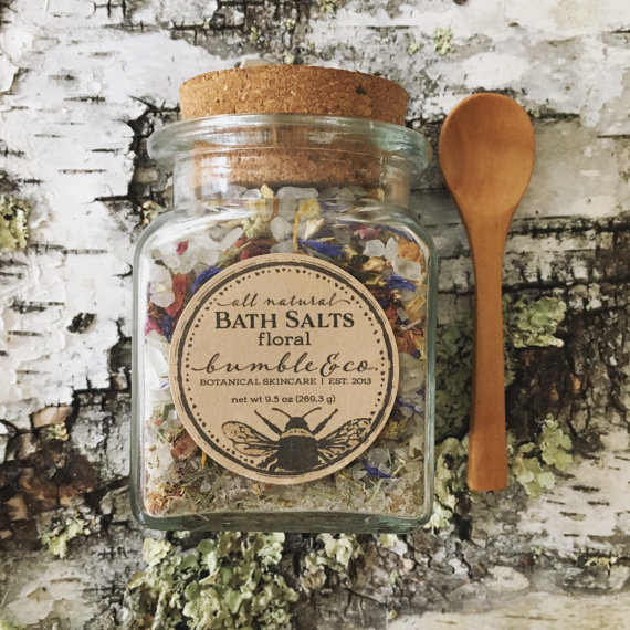 Unique Gifts for Tired Mom to Show You Care - All Natural Bath Salts Florals by Bumble & Co will soften your skin and relax you after a long day! Get your tired mom a relaxing bath experience.