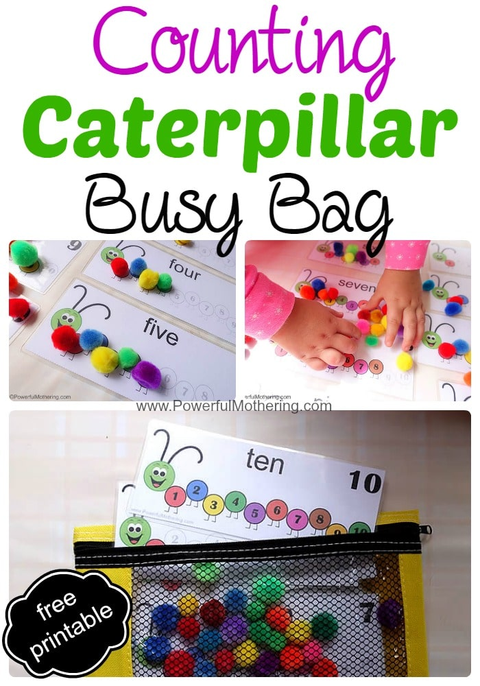 Counting Caterpillar Busy Bag (Printable Numbers 1-10) - Help your toddler learn to count!