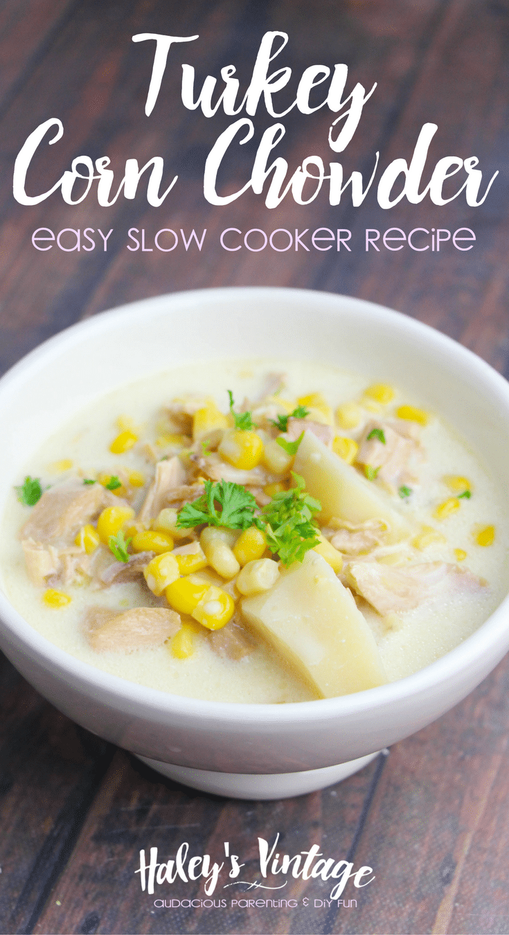Leftover turkey? How about making some Turkey Corn Chowder in your slow cooker? Easy & no fuss recipe your family will love!