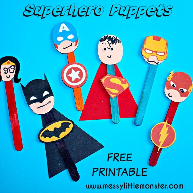 Superhero Puppets Printable will be a hit for boy and girls! These are great way to add life to your bed time stories! via Messy Little Monster