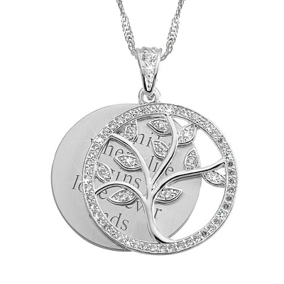 Crystal Family Tree Necklace with Free Filigree Heart Box would be a great personalized gift for mom!
