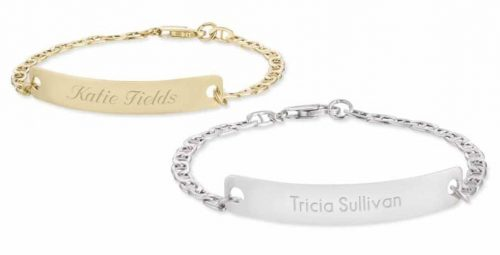 Sterling Silver ID Link Bracelets with Free Filigree Heart Box would be perfect gift for mom.