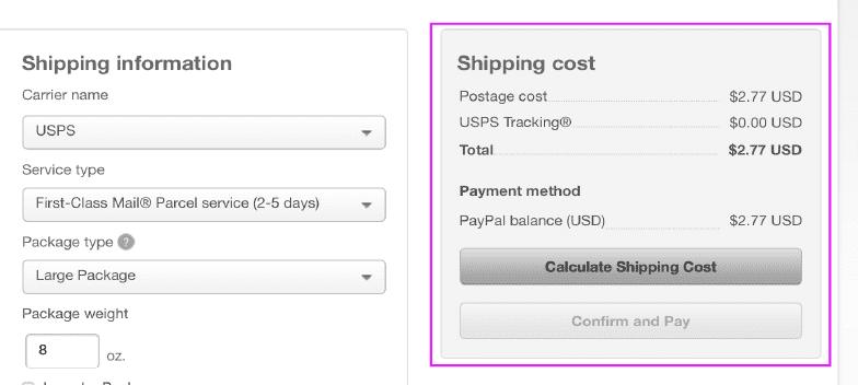 Calculate Shipping Cost when printing a shipping label with PayPal without an order