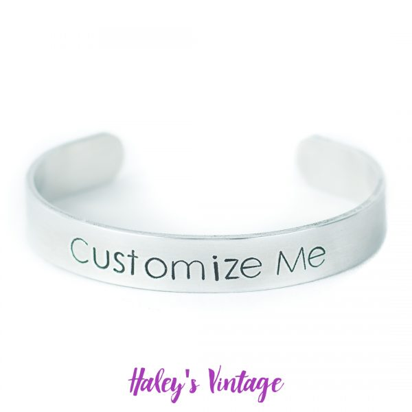 Customized small hand stamped bracelet from HaleysVintage